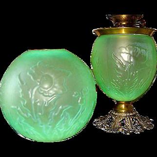 Antique Pittsburgh Poppy Green Satin Glass GWTW Banquet Lamp