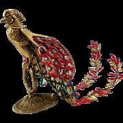 Vintage French Figural Bronze Czech Glass Beaded Shade Phoenix Firebird Bird Desk Lamp
