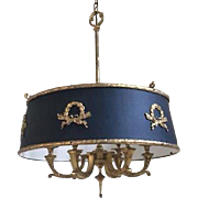 Stately French Empire Tole Brass Bouillotte Chandelier Ceiling Fixture Lamp 6 Light