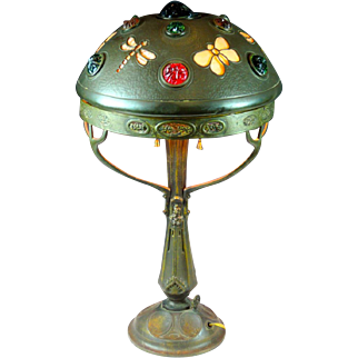 Vintage Art Nouveau Chunk Glass Jeweled Shade Butterfly & Dragonfly Motiff Table Lamp