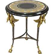 MAITLAND SMITH Mosaic Granite Marble Brass Swan Round Side Table