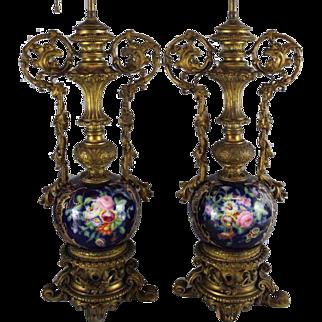 Antique French Sevres Porcelain Bronze Lamp Pair Cobalt Floral & Gold Gilt
