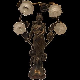 Art Nouveau TAIRO Paris Spelter French Figural Newel Post Statue Lamp Butterfly Glass Flower Shade