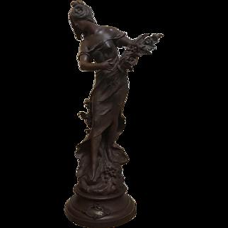 Art Nouveau Moreau Spelter French Figural Newel Post Statue Huge