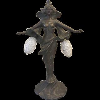 Antique Art Nouveau Deco Spelter French Figural Fairy Fairie Lamp Czech Shade
