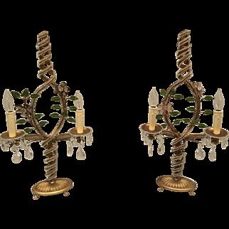 Pair Gilt Metal Crystal Beaded Candelabra Buffet Table Lamp Amethyst Flowers