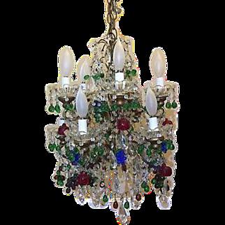 Vintage Italian Murano Glass Fruit Crystal Macaroni Beaded Chandelier