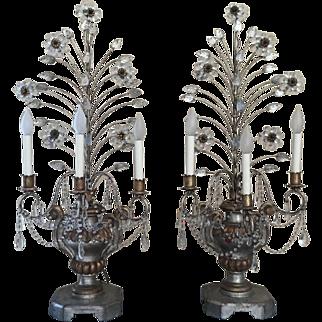 Vintage Pair Crystal Beaded Candelabras Flower Leaves Gilt Wood Urn Lamps Maison Bagues
