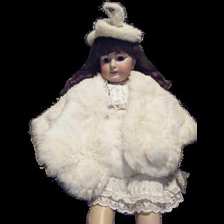 Vintage White Rabbit Fur Wrap ,Muff and Hat