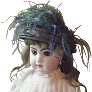 Antique Green Doll Hat with Feathers