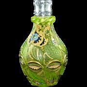 Biedermeier Annagelb uranium glass bottle / vase Turkish or Persian market