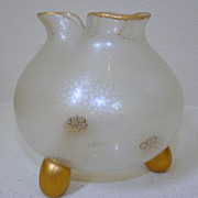 Harrach glass rosebowl vase with clear frosted design