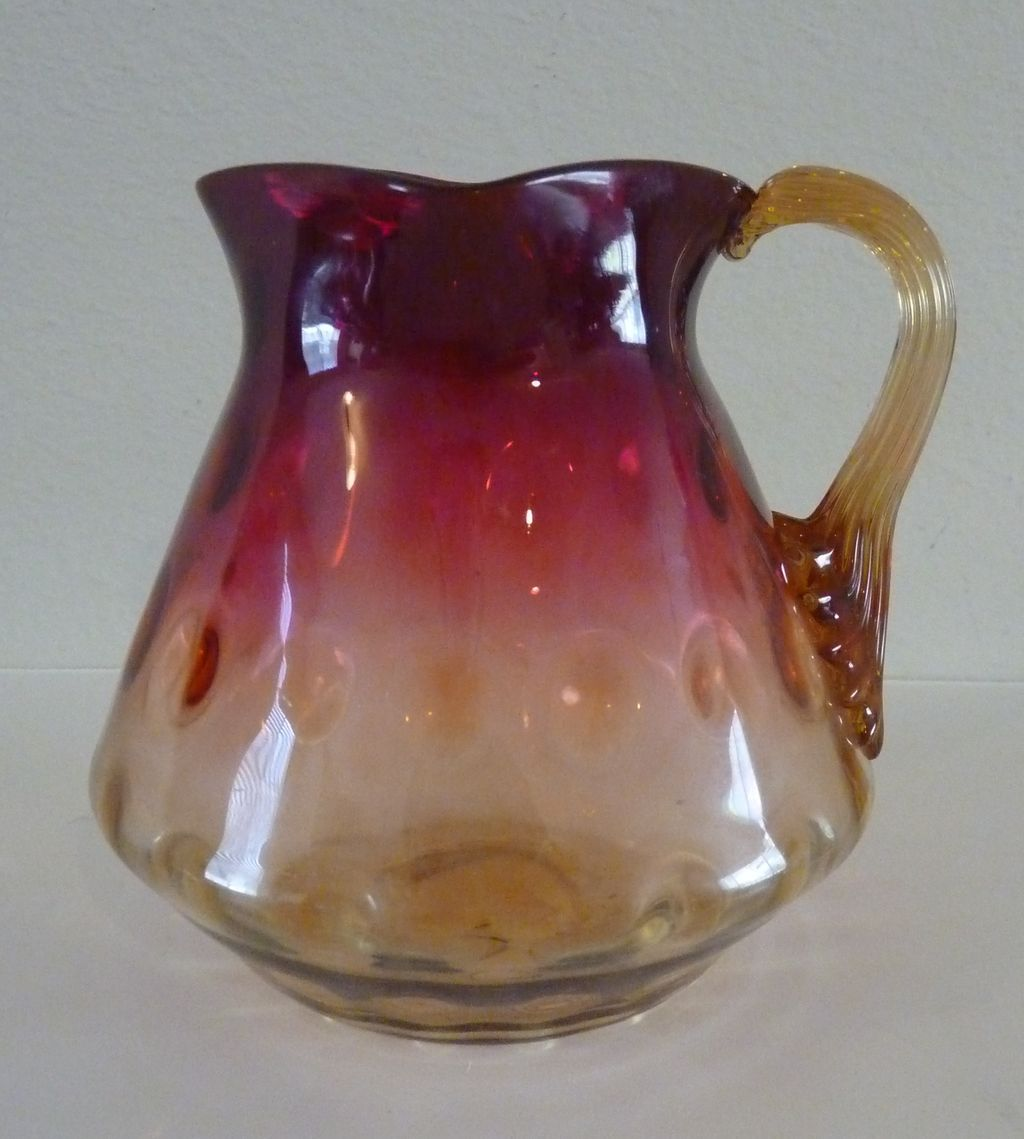 New England Amberina glass pitcher vase