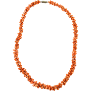 1900s Antique Victorian Graduated Branch Coral Necklace