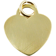 1970s 14K Vintage Engravable Heart Charm in Yellow Gold
