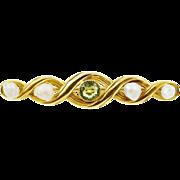 1900s Art Nouveau Peridot & Baroque Pearl Bar Pin in 10K Yellow Gold