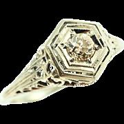 1920s 18K White Gold Filigree Diamond Engagement Ring