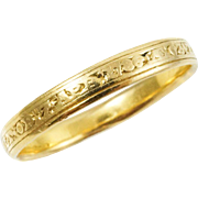 1780s Georgian Memorial Mourning Band Ring in 18K Yellow Gold--As Found