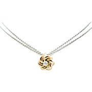 1890s Antique Victorian Diamond Love Knot Conversion Pendant Charm in 10K Yellow Gold