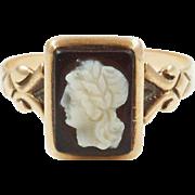 1890s Victorian Hardstone Cameo Ring in 10K Rose Gold