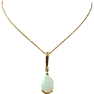Vintage Pear Shaped Opal and Diamond Necklace in 14K Yellow Gold