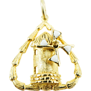 1970s Vintage Moveable Windmill Enamel Charm in 14K Yellow Gold