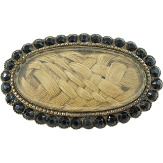 1870s Victorian Mourning Braided Hair Brooch with Faceted Jet in Coin Silver (As Found)