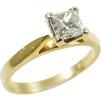 1990s Modernist 3/4CT Princess Cut Diamond Engagement Ring in 14K Yellow Gold