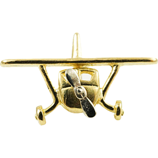 1980s Conversion Airplane Moveable Pendant Charm in 14K Yellow Gold