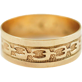 1880s Antique Victorian Patterned Wide Band in 10K Rose Gold