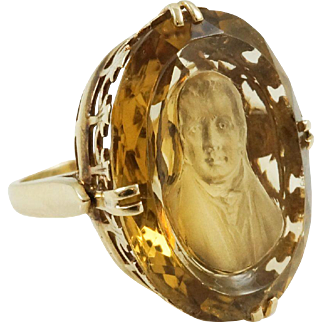 1930s Vintage Gothic Robert Burns Citrine Cameo Cuvette Ring in 14K Yellow Gold