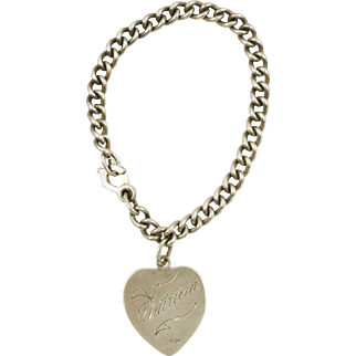 """1940s Vintage """"Patricia"""" Sweetheart Bracelet in Sterling Silver  Ask a question"""