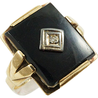1940s Vintage Retro Onyx Diamond Ring with Inscription in 10K Yellow Gold