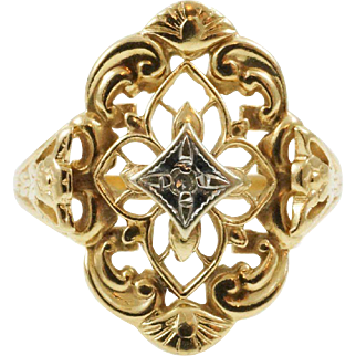 1950s Vintage Open Metal Work Filigree Diamond Shield Ring with Orange Blossoms in 10K Yellow Gold