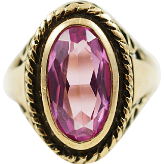 1960s Vintage Filigree Synthetic Pink Sapphire Ring in 10K Yellow Gold