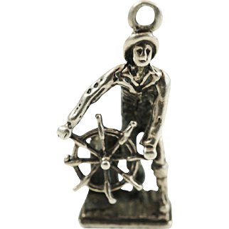 1950s Vintage Nautical Sailor Charm in Sterling Silver