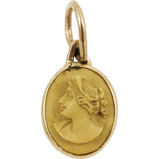 1930s 10K Gold Vintage Lava Stone Cameo Charm Conversion