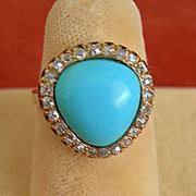 Victorian Persian Turquoise and Diamond Ring
