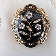 Large Victorian Mourning Brooch/Pendant