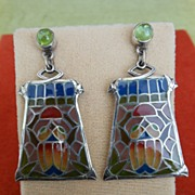 Art Nouveau Plique-a-Jour Scarab Motif Earrings