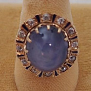 Edwardian Star Sapphire and Diamond Ring