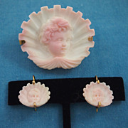 Victorian Carved Conch Shell Brooch and Earring Set