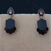 Victorian Onyx and Seed Pearl Drop-Style Earrings