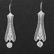 Vintage Diamond and Platinum Earrings