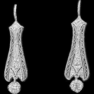 Vintage Diamond and Platinum Earrings