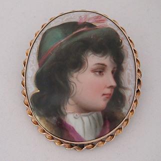 Victorian Porcelain Portrait Miniature Brooch