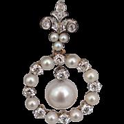 Vintage Pearl and Diamond Pendant