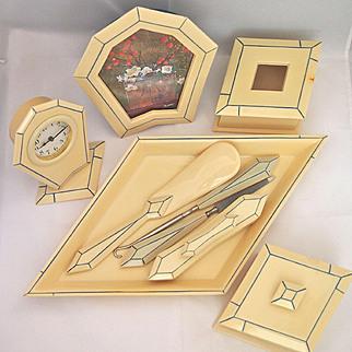 Art Deco Celluloid Dresser Set