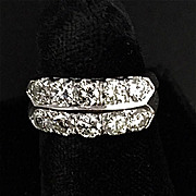 Vintage Hoop Style White Gold and Diamond Ring