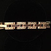 14k Rose/Yellow Gold Square Link Style Bracelet